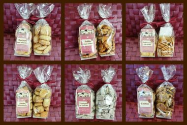 Biscuits secs et corbeilles garnies